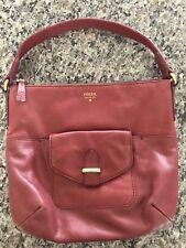 Fossil red soft leather handbag purse medium  shoulder bag