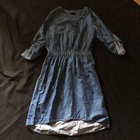 Mossimo Chambray Denim Lace Up Dress Woman's Medium Preppy
