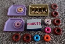 BARBIE KEN DOLL HOUSE KITCHEN DINING FOOD DISHES - 14pc DONUT SET w/ TRAYS & BOX