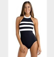 Seafolly Block Party DD Maillot Black White One Piece AU 18 US 14 Swimsuit