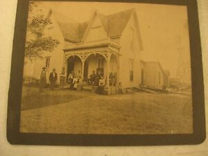 VINTAGE FARM HOUSE BUILDINGS WINDMILL FAMILY  PHOTOGRAPH 7.5 X 9.5 INCHES