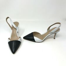 Ann Taylor Lanie Black White Color Block Leather Slingback Pointed Toe Heel Shoe