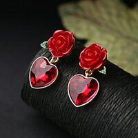 1 Paar Frauen Rot Herz Kristall Dangle Ohrringe Rose Ohrstecker Geschenk Schmuck