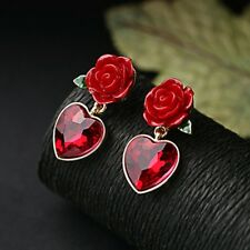 Fashion Red Heart Crystal Dangle Drop Earrings Ear Studs Women Gift Jewelry Chic