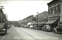 Waukesha WI Street Scene Stores Cars Real Photo Postcard