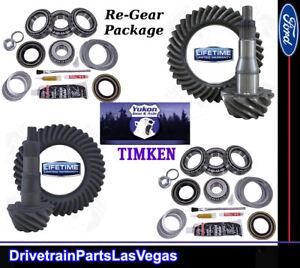 "Yukon Ford 9.75"" & 8.8"" IFS 4.56 Ratio Ring Pinion Gear Set Timken Master Kits"