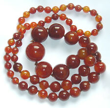 "STUNNING Art Deco CHERRY AMBER BAKELITE 32"" Round BEAD NECKLACE 106 grams"