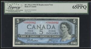 1954 Bank of Canada $5 Replacement Note - Legacy Choice New 65 PPQ - *A/C0020942