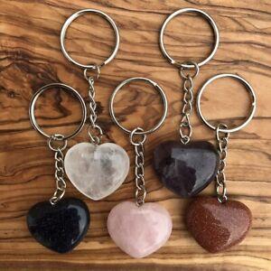 Natural Rose Quartz Heart Crystal Pendant Keychain Bag Handbag Key Chain Keyring