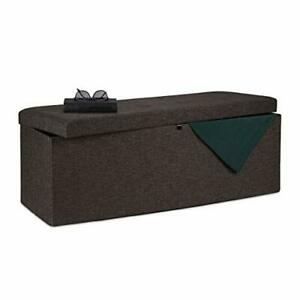 Relaxdays Folding Storage Bench, Padded, Hinged Lid, Hallway Chest, Divider, 120