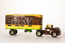 #Antique Tin Toy# Japan ALPS Cattle Cow Animal Transport Freigth Truck Rare