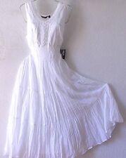 NEW~White Eyelet Lace Peasant Prairie Tiered Boho Dress~12/14/L/Large