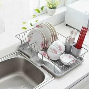 Large Dish Drainer Wire Cutlery Draining Holder Plate Rack Kitchen Sink UK