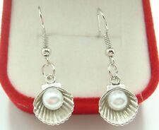 925 Silver Plated Hook -1.6'' Pearl Shell Simple Drop Elegant Women Earrings F3