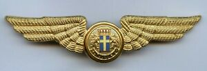 Scandinavian LINJEFLYG Airlines Pilot Wing Cap Badge !!!
