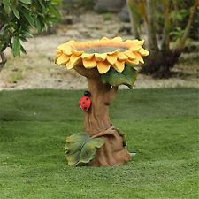 Tiny Sunflower Bird Bath Garden Flower Statue Wild Bird Feeding Station