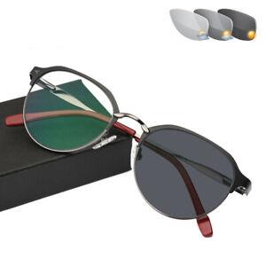 Retro Sun Photochromic HD Aspheric Resin Reading Glasses full frame Sunglasses