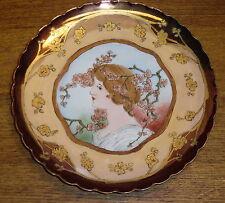 """Art Nouveau Style Hand Painted Porcelain Portrait Plate - Haviland France - 9"""""""