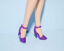 Purple Closed Toe Ankle Strap Stiletto High Heels Shoes Genuine BARBIE Fashion