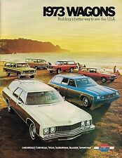 1973 Chevy STATION WAGONs Brochure w/ Specs:CHEVELLE,CAPRICE,ESTATE,MALIBU,VEGA,