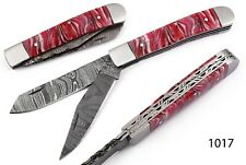 HAND FORGED DAMASCUS STEEL TRAPPER FOLDING KNIFE WITH RISEN HANDLE AH 1017