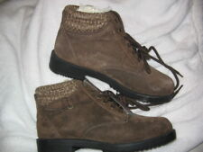 Women's Predictions Leather Ankle Boots Size 7 BROWN Suede Knit Cuff, BRAND NEW