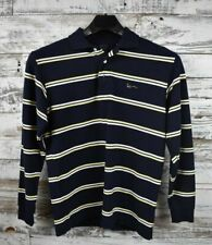 Kani Gold Long Sleeve Polo Size L Navy Blue with White and Yellow Stripes