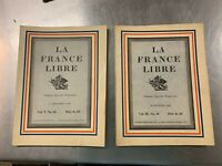 2 Issues of La France Libre Magazine, 1942 Vintage French Magazine