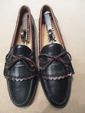 MENS BLACK AND BROWN LEATHER LOAFERS BY ALLEN EDMOND SIZE 11B WOOD STOCK