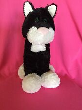 First & Main Long Legged Black/White Cat Plush Stuffed Animal