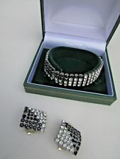 Lovely Vintage Bracelet & matching Clip Earring's in Black & Silver Damant'e Box