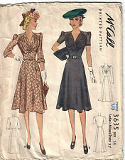 "32"" ORIGINAL 1940's 40s WWII Dress Sewing Pattern McCall 3635"