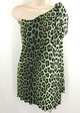 Carol Wior Swimsuit Coverup One Size Green Animal Print Stretch Swimwear Sarong