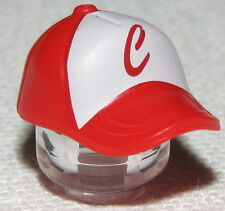 LEGO WHITE AND RED MINIFIGURE BASEBALL CAP HAT PIECE