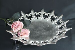 Classy Colmore Bowl Tray Silver Aluminium Round French Lily 42cm New