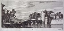 Gravure Etching Incisione Kupferstich PERELLE Paysage animé rempart pont rivière