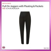 Ladies Pull On Tapered Leg Joggers Side Pockets Casual Trousers Plus Size 12-24