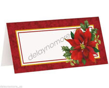Christmas Xmas Party 16x Holly Poinsettia Place Name Cards Table Decoration Red