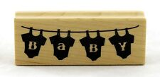 Baby Onesies on the Line Wood Mounted Rubber Stamp Inkadinkado NEW birth shower