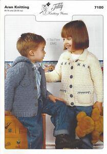 Hand Knitting PATTERN ONLY Aran Child Children's Jackets Teddy 7180 New