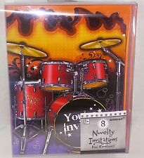8ct You're Invited Novelty Invitations Drums Rock and Roll Party Band flames