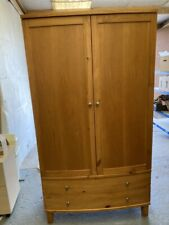 Curve Fronted Double Door and 2 Drawer Wardrobe in Beech