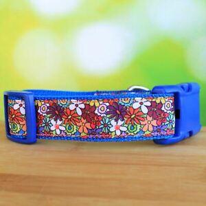 Adjustable Dog Collar - Floral Fantasy in Blue