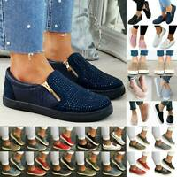 Women Casual Shoes Slip On Plimsolls Loafers Flat Sneaker Trainers Shoes Size US