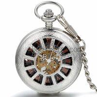 Vintage Antique Wheel Windup Mechanical Skeleton Roman Numberals Pocket Watch