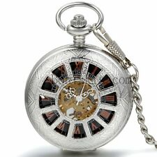 Vintage Antique Wheel Windup Mechanical Skeleton Roman Numberals Pocket Watch