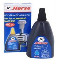 HORSE Ink For Numbering Machine Permanent Black Ink 40 cc. Free Shipping