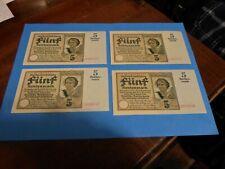 4 Pieces 5 Rentenmark  1926.  UNC    EXTRA RARE!!!  Collection