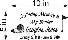 IN MEMORY OF DECAL GOLF STYLE GOLFER CUSTOM INFO NEW!