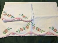 Vintage Pillowcase Set Painted Pink Flowers with Pink Crocheted Edges